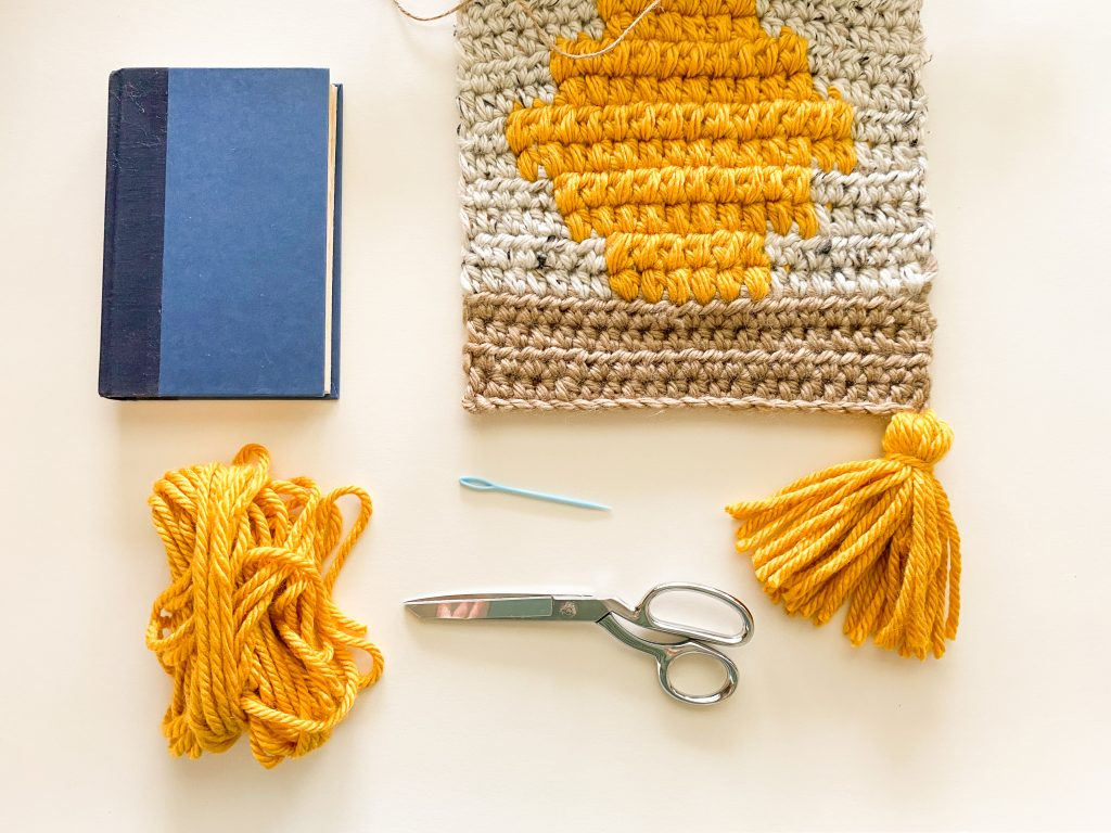 materials for yarn tassels for pumpkin spice wall hanging