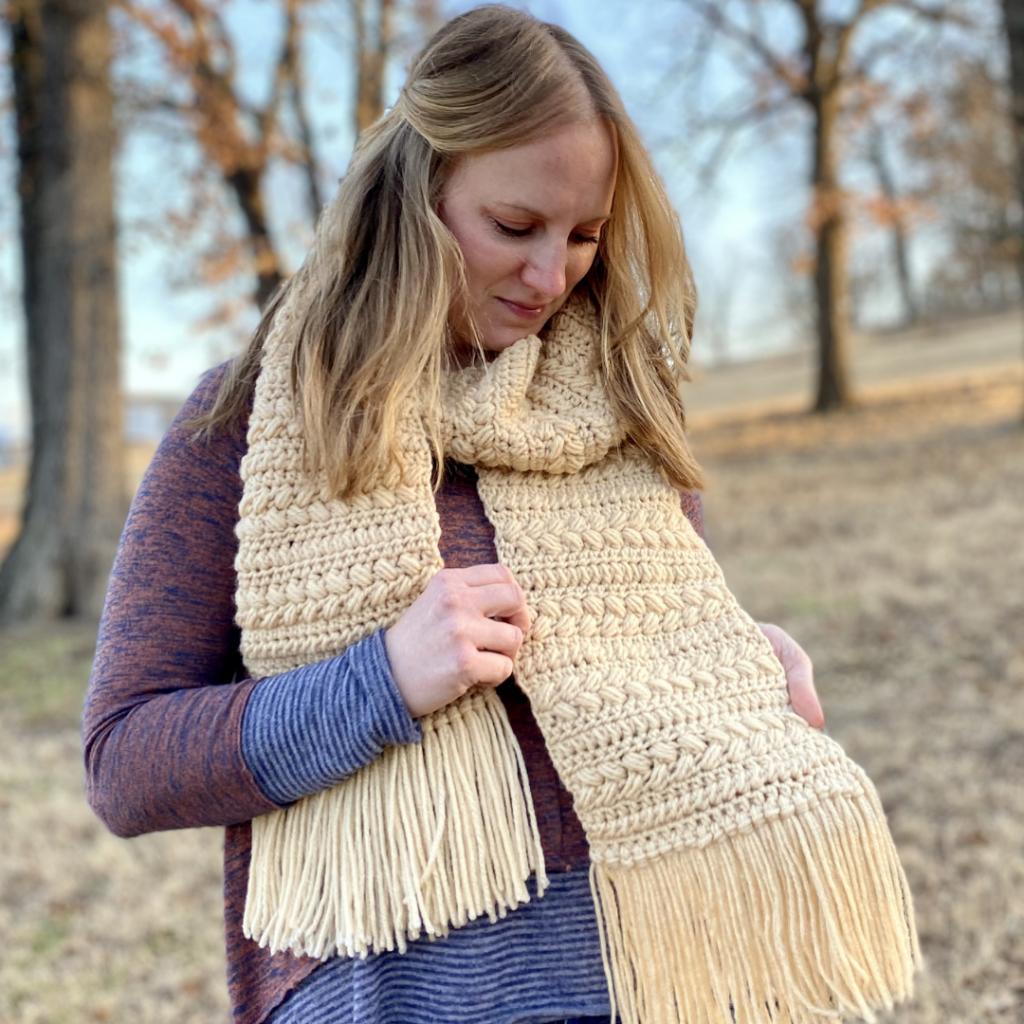 brioche bun crochet scarf