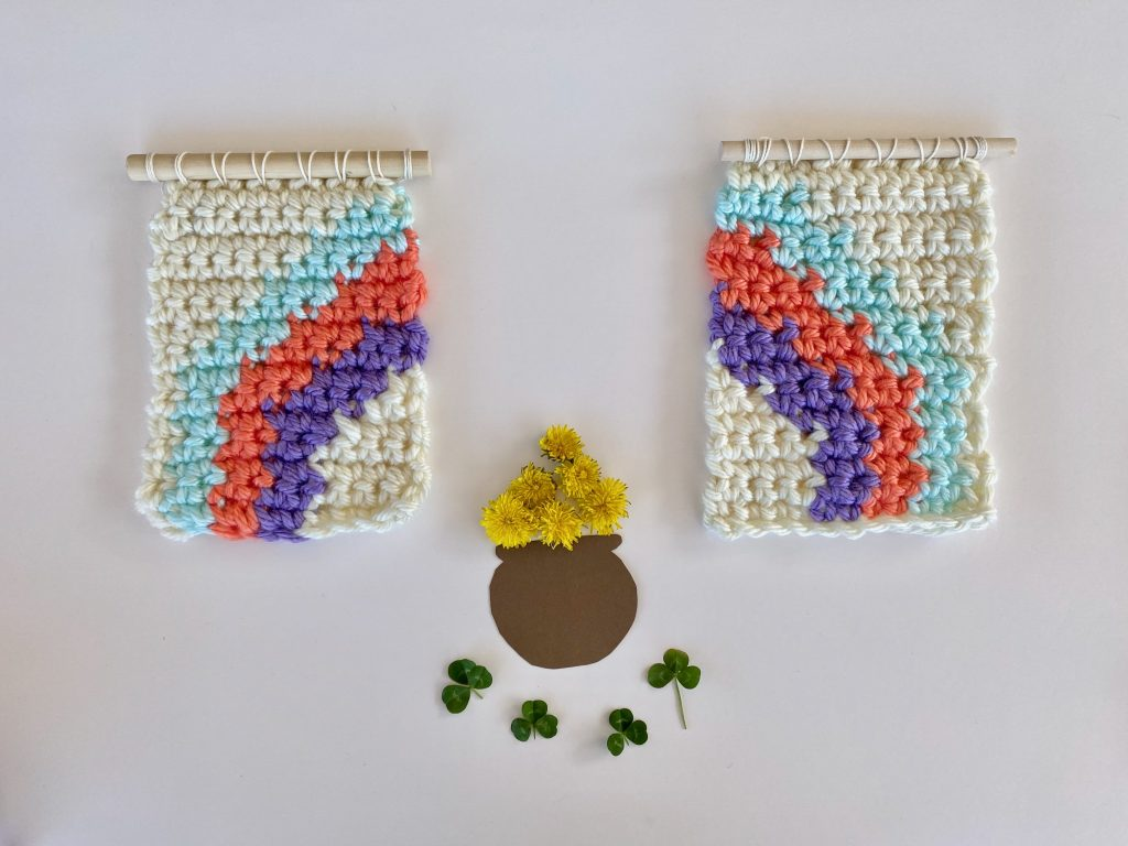 crochet rainbow wall hangings